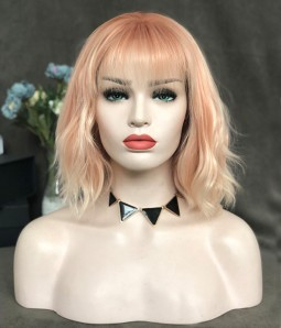 Peach Bellini / Light Peach and Strawberry Blonde and Platinum Blonde Highlighted Synthetic Lace Front Wig (Heat Friendly)