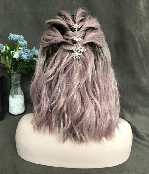Storm Berry / Dusty Rose Pink with White Highlighted and Brown Roots Synthetic Lace Front Wig (Heat Friendly)
