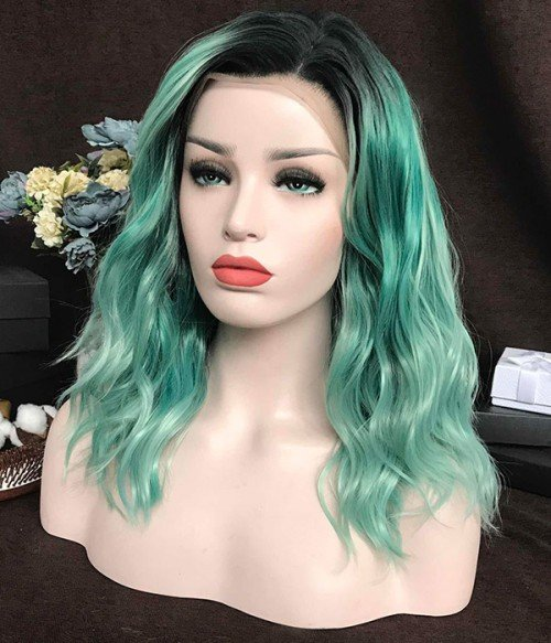 Minty Mist   Sea Green Synthetic Lace Front Wig (Heat Friendly)