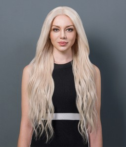 Gabrielle | Long White Ash Blonde Remy Human Hair Lace Wig