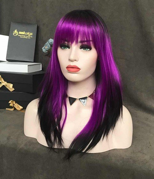 Twilight Sparkle/Violet with Black Tips and Bangs Synthetic Lace Front Wig