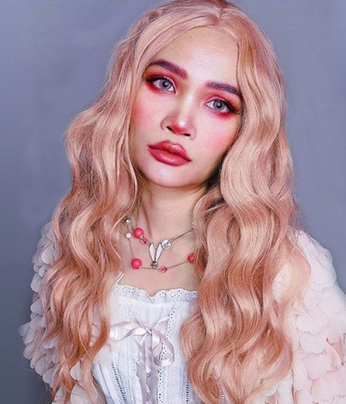 Coral Doll Pastel Pink Long Loose Wave Synthetic Lace Front Wig