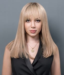 Zoe | Shoulder Length 100% Hand-tied Human hair Mono Wig with Bangs