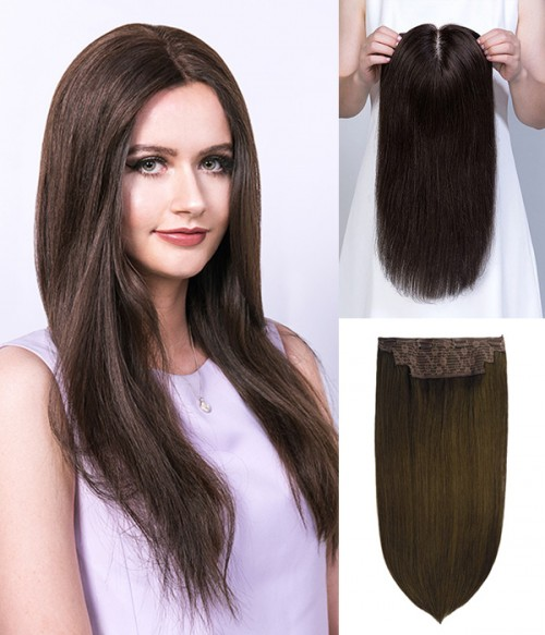 "16"" 5""x6"" Emily Remy Human Hair Mono Topper+14"" Catherine 2-in-1 Halo Remy Human Hair Extension"