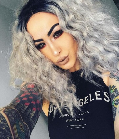Peach Icicle Silver with Dark Root Shoulder Length Wavy Synthetic Lace Front Wig