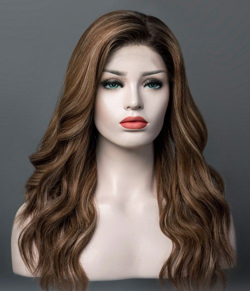 Taylor   Brunette Balayage Remy Human Hair Mono Top Wig   Lace Front