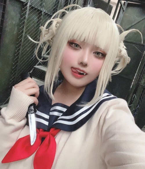 Limited Himiko Toga Wig | Short Blonde Wig with Bangs and Buns | My Hero Academia Cosplay Synthetic Wig