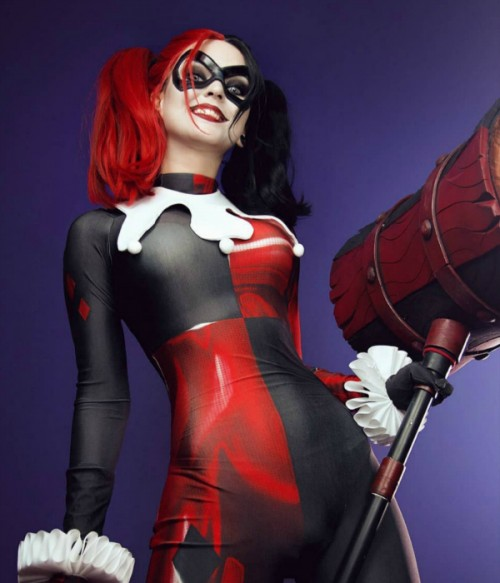 Limited Lava Half Red and Half Black Long Straight Synthetic Wigs | Harley Quinn