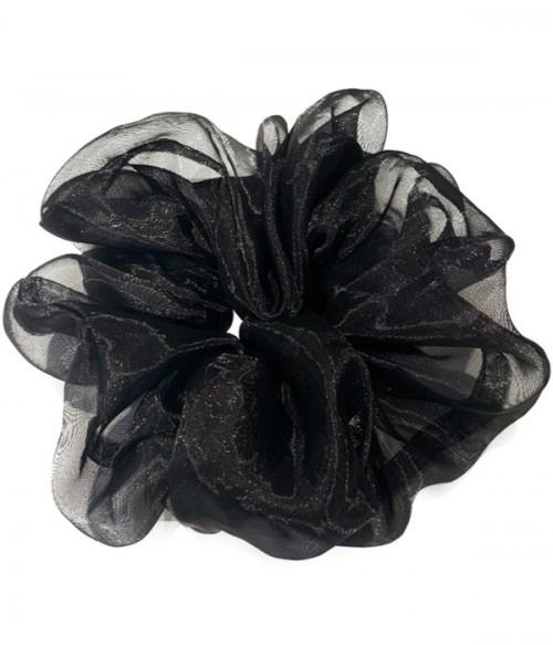 French Style Black Organza Scrunchies