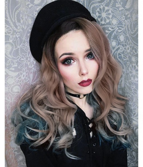 Siren's Song Brown Gray Blue Ombre Long Wavy Synthetic Lace Front Wig