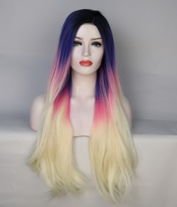 Limited Blue and Pink blend Long Lace Front Wig