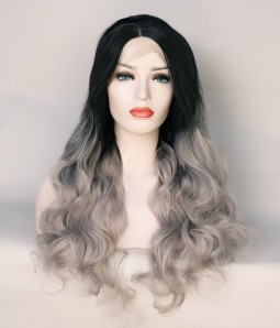 Limited Sliver With Dark Root Long Wavy Synthetic Wig