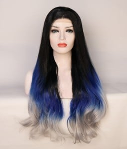 Limited Blue and Gray Blend Synthetic Wig