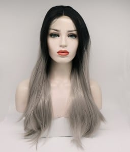 Limited Sliver With Dark Root  Synthetic Wig