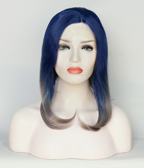 Limited Short Blue and Gray Synthetic Wig