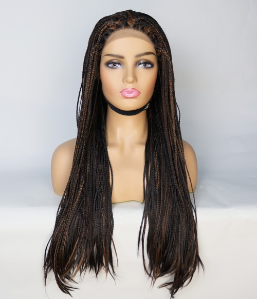 Limited Brown and Black Long Braid Synthetic Wig