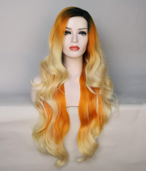 Limited Orange and Blonde Blend With Dark Root Long Synthetic Wig