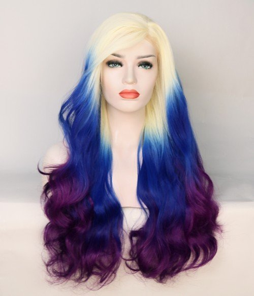 Limited White Blue and Purple Blend Wavy Synthetic Wig