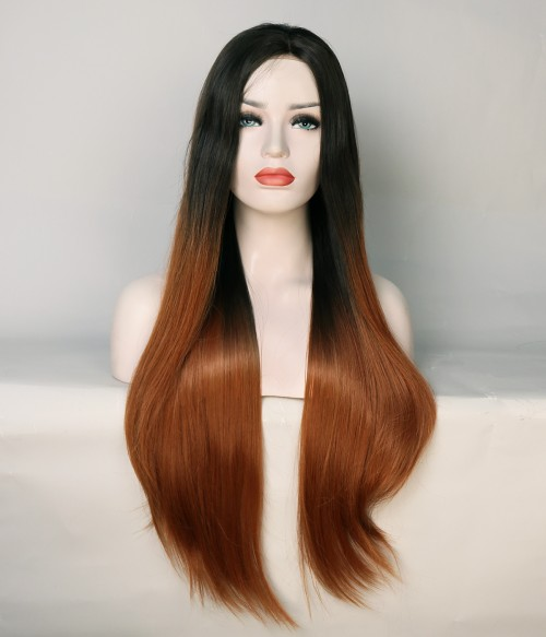 Limited Dark Coral Straight Synthetic Wig
