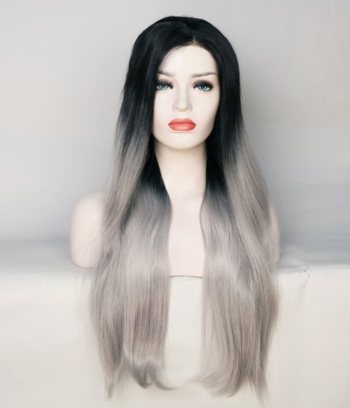 Limited Gray Long Straight With Dark Root Synthetic Wig