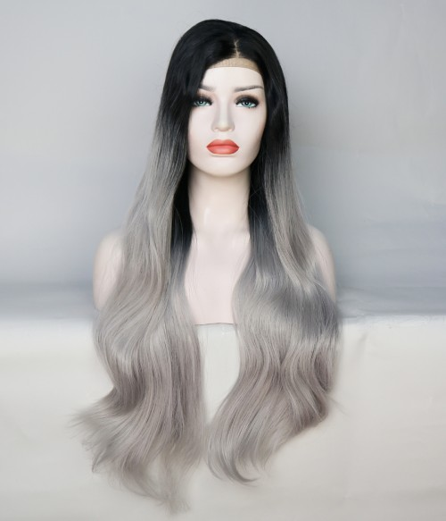 Limited Gray Long Wavy With Dark Root Synthetic Wig