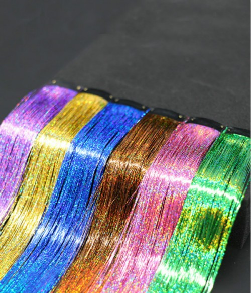 12-colors Clip in Sparkling Shiny Hair Flairs Extensions Collection