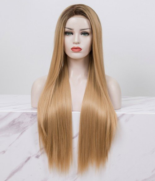 Blonde With Dark Root Long Straight Synthetic Lace Front Wig