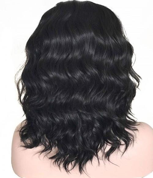 Night Elf | Black Shoulder Length Wavy Synthetic Wig