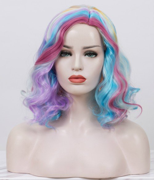 Limited Rainbow Candy l Multicolored Shoulder Length Curly Synthetic Wig