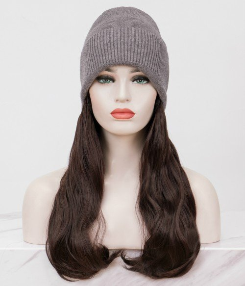 Knit Beanie Hat With Hair l Synthetic Long Wavy Hat Wig