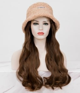 Faux Fur Bucket Hat l Synthetic Long Wavy Hat Wig