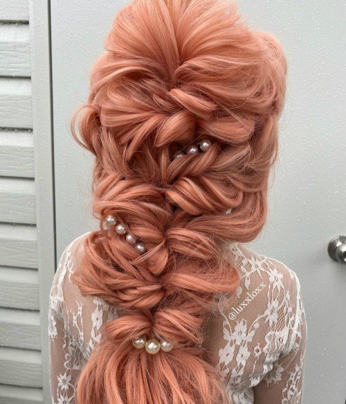 Sweety Apricot l Coral-orange Long Loose Wave Lace Front Wig