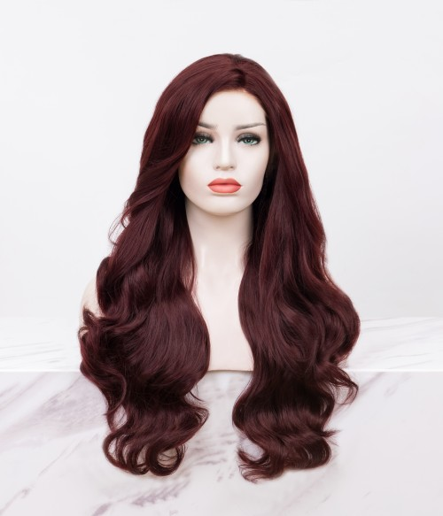 Bordeaux | Rich Red Long Wavy Synthetic Lace Front Wig