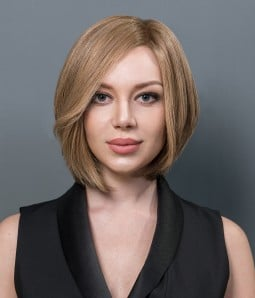Mira | Short Bob Blonde Highlight 100% Hand-tied Human Hair Mono Top Wig | Lace Front