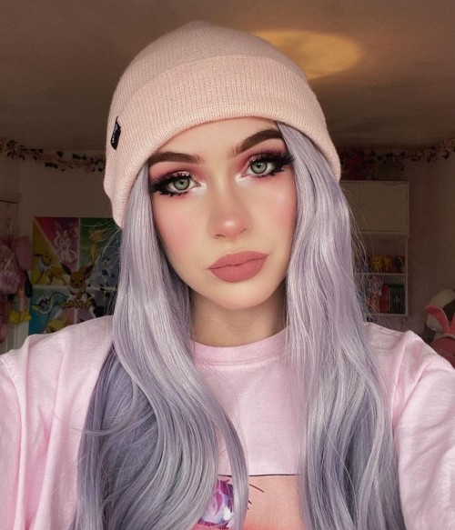 Pale Lilac Long Natural Wave Synthetic Lace Front Wig