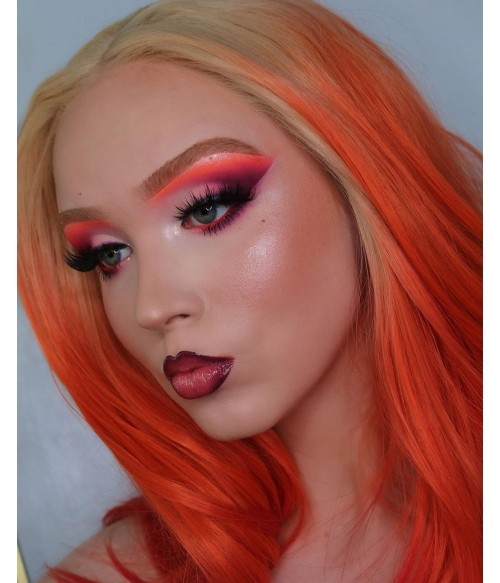 Red Ombre Straight Long Synthetic Lace Front Wig