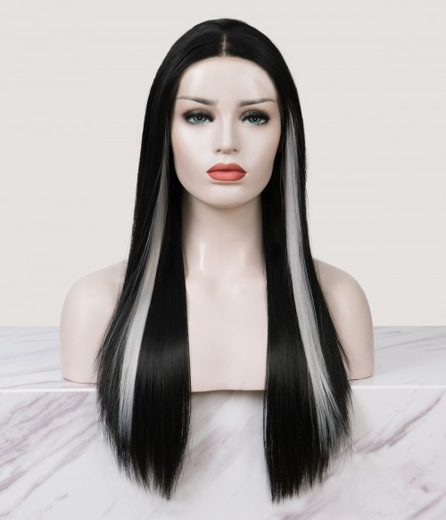   Earloop Highlight Long Straight Synthetic Lace Front Wig