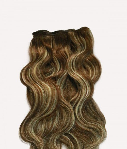 """20"""" Chestnut Highlights 7 Pieces Straight Clip In Indian Remy Human Hair Extension E720001STW-G-27"""