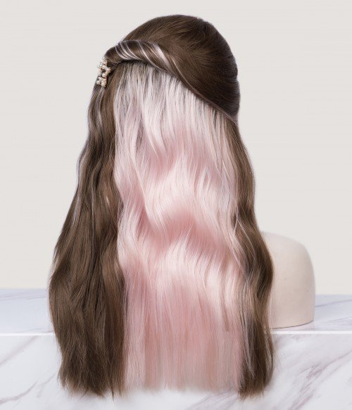   Brunette with Hidden Pink Natural Wavy Synthetic Lace Front Wig