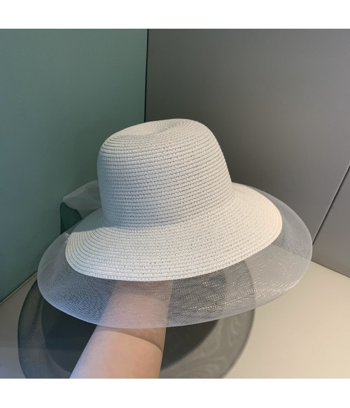 Hepburn Hat With Hair l Natural Straight Synthetic Hat Wig | Mesh straw
