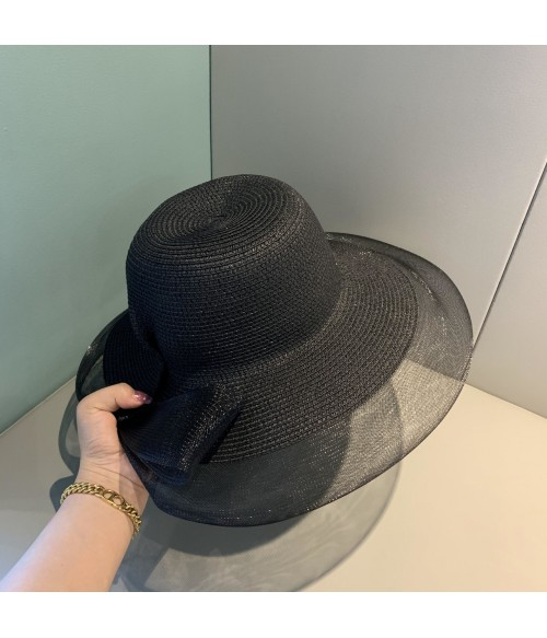 Hepburn Black Hat With Hair l Wavy Synthetic Hat Wig | Mesh straw