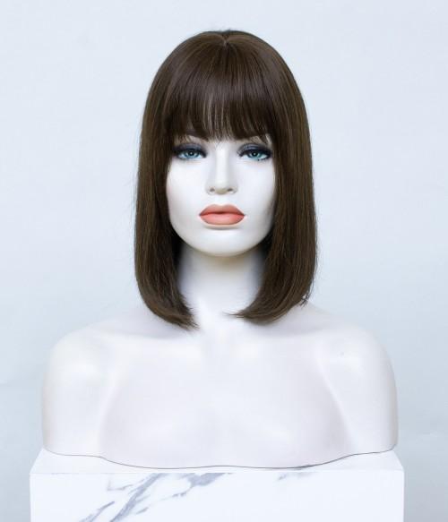 Amber Short   Silk Top Human Hair Topper with Bangs