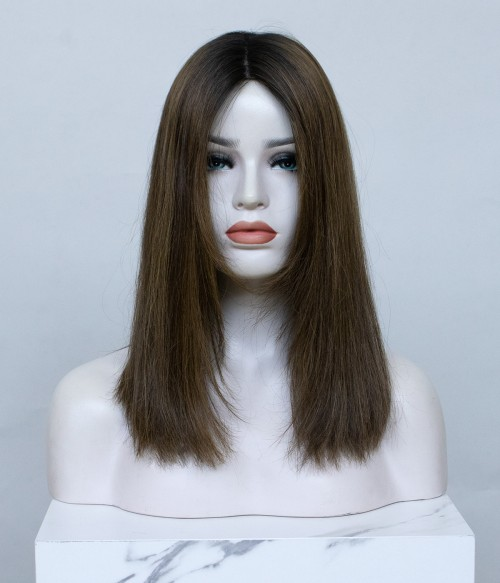 "8.5""x9"" Layed Melanie | Mono Top Remy Human Hair Topper | Brown Shades"