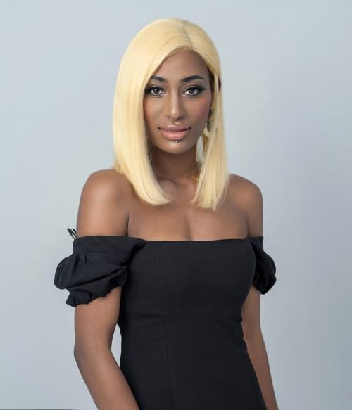 "Tethys | Straight Short Bob 613 Platinum Blonde Human Hair 4""x4"" Lace Closure Wig"