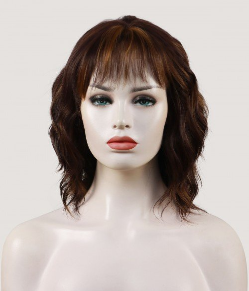 Xenia | Short Wavy Synthetic Lace Front Wig with Bangs