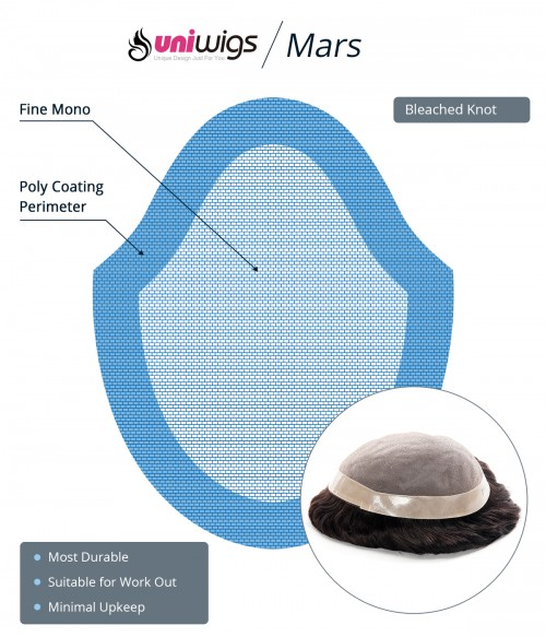 """Mars -- Men's Hair Replacement System   Durable Fine Mono with PU Around   6""""*9"""""""