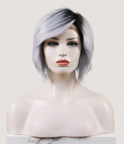 Melissa | Silver Bob Synthetic Lace Front Wig