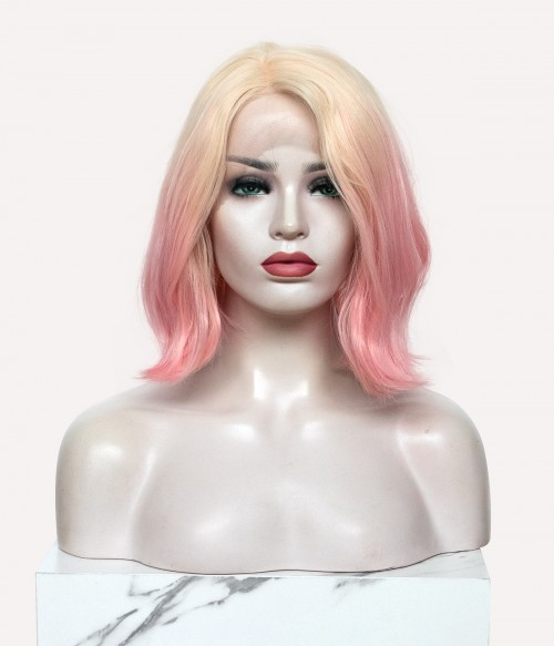 Strawberry Soda   Short Wavy Synthetic Lace Front Wig