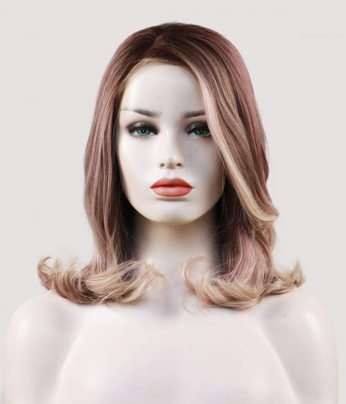 Plum Wine | Shoulder Length Synthetic Lace Front Wig with Side Bangs