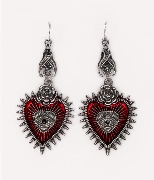 Evil Eye   Gothic Red Heart Drop Earrings